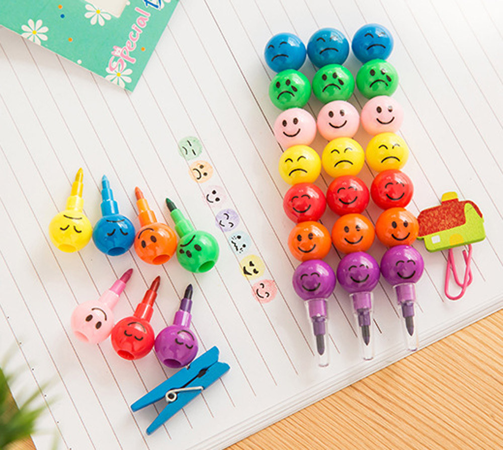 Creative Sugar-Coated Haws Crayons Cartoon Smiley Graffiti Pen Kids School Office Supplies Stationery Gifts 7colors/pc