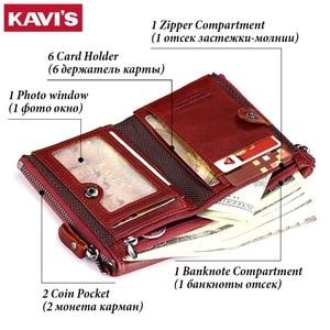 Image 3 - KAVIS portefeuilles Vintage en cuir véritable pour femmes, Mini portefeuille à fermeture éclair, porte monnaie, pochettes, 100%