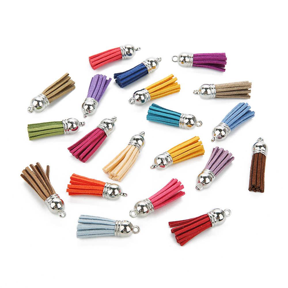 20 pcs/lot 4 cm daim glands charme Multi couleurs Faux daim cuir gland avec or CCB Cap pour la fabrication de bijoux à bricoler soi-même matériaux