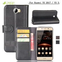 Limelan For Huawei Y5 2017 Y5 3 Phone case Luxury Genuine Leather Flip Wallet Stand Cover Coque for Ascend Y5 III Business Shell