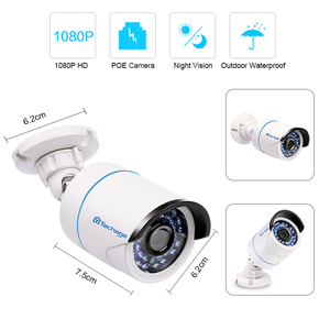 Image 2 - Techage 1080 1080p poe 48v ipカメラ2MP屋外防水onvifオーディオセキュリティcctv監視屋外irナイトビジョンpoeカメラ