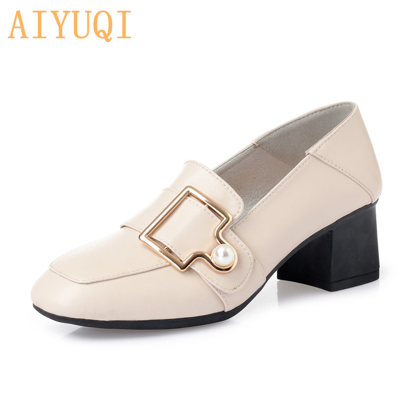AIYUQI Womens shoes fashion 2019 new genuine leather women designer high heels Spring square head shoes women Hot trendy shoes in Women 39 s Pumps from Shoes