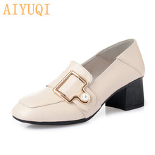 AIYUQI Womens shoes fashion 2019 new genuine leather women designer high heels.Spring square head women,Hot trendy