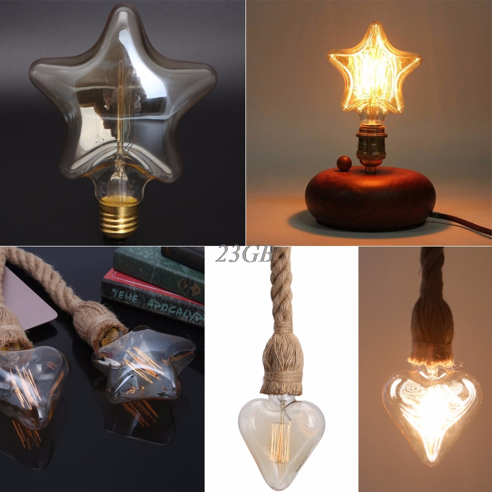 Vintage Decorative Light Bulb E27 Star/Heart Incandescent Bulb Retro Edison Bulb A20