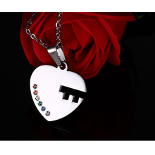 Key Couples Necklace Pendant Sets Rainbow LGBT Jewelry Stainless Steel