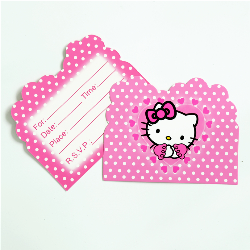 Hello kitty party cards kitty cards 10pcslot invitation card hello kitty cat kids birthday party supply event party supplies party stopboris Choice Image