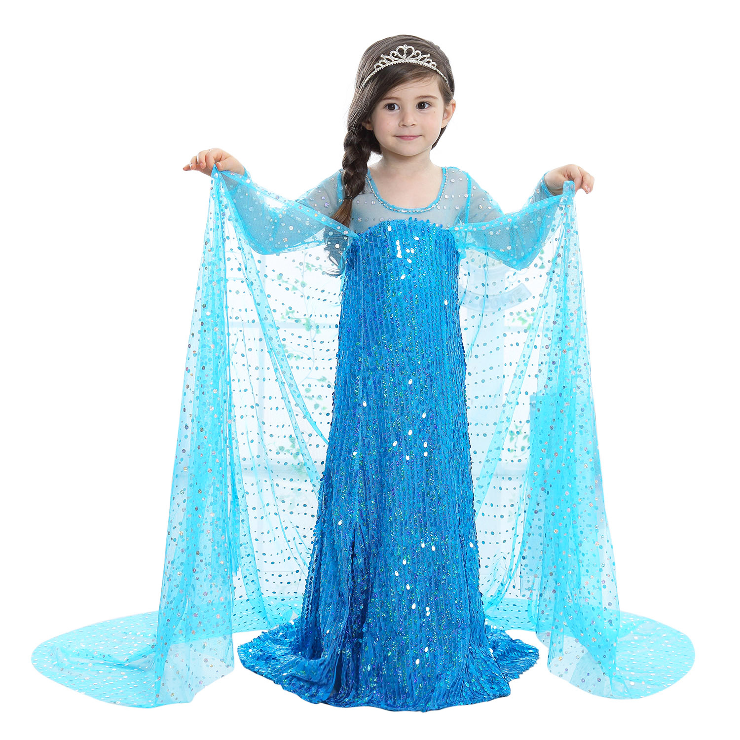 Blue Sequin Applique Floor Length Halloween Cute Elza Costumes for Princess Dress Girls Long Sleeve 2017 Evening Dresses Luxury halloween costumes clown dressed up acting cute nose red
