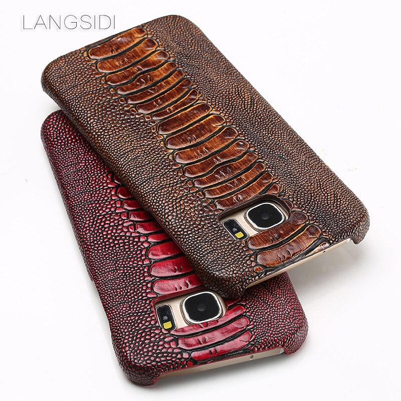 Натуральная кожа чехол для телефона для samsung S7 Edge чехол Текстура Кожа ноги страуса задняя крышка для S8 S9 плюс A5 A7 A8 J5 J7 2017 чехол