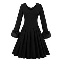 Sisjuly Women S Vintage Dress 2017 Autumn Solid Black Full Sleeve Knee Lemgth A Line Dresses