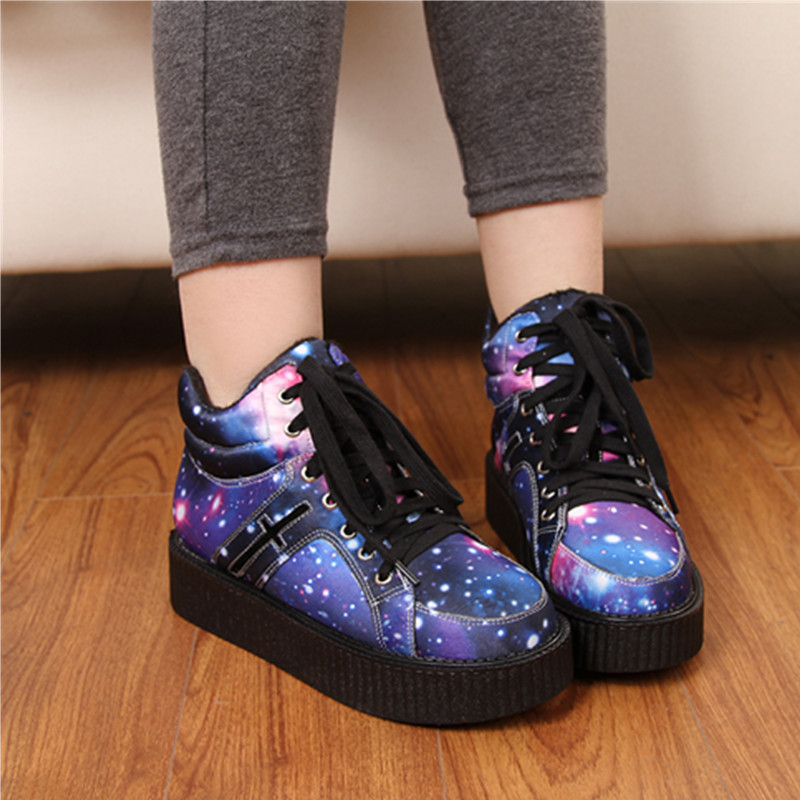 4b0e3936c86f Pattern shoe Womens Winter Punk Shoes 2017 Harajuku Creepers Platform Women  Casual Comfortable Galaxy Blue Goth Punk ankle boots-in Ankle Boots from  Shoes ...