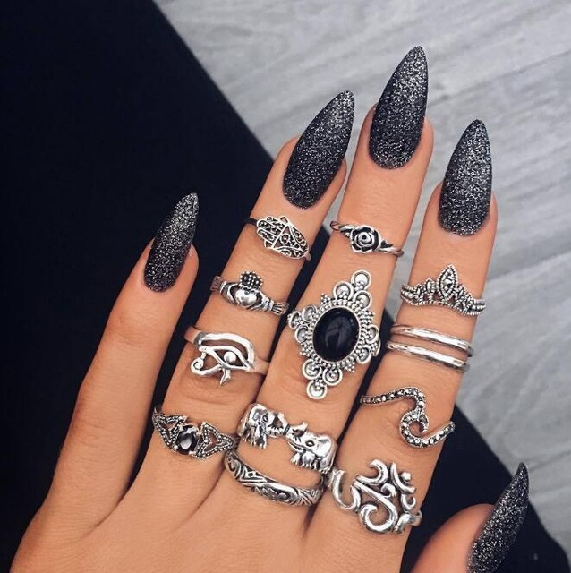 HuaTang Bohemian Antique Silver Ring Geometric Elephant Flower Green Rhinestone Knuckle Rings Midi Finger Anel Rings Jewelry 64