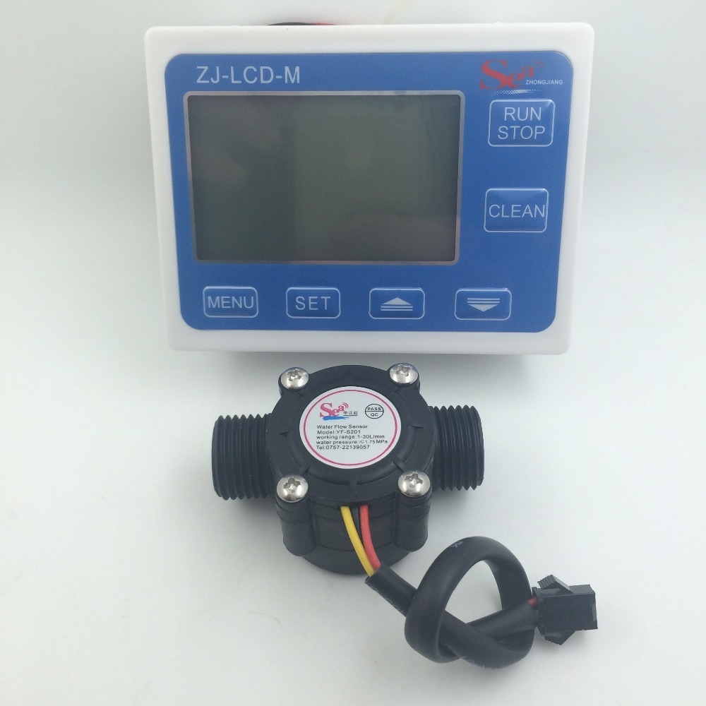 YF-S201 G1/2 Water Flow meter Sensor flowmeter caudalimetr counter indicator + digital LCD water flow system 1-30L/min 3-24V computer acc water cooling flow meter pom 2 ways g1 4 port female to female flow meter indicator for pc water cooling system