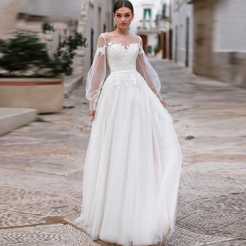 Eightale New Wedding Dress Boho Appliques Lace Puffy Sleeves Wedding Gown Custom made Tulle Vintage Bridal Dresses