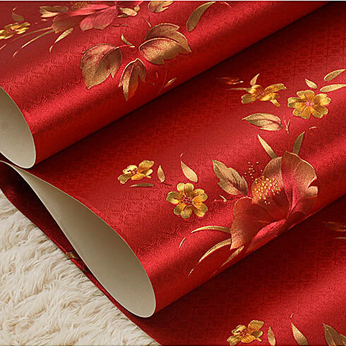 Vintage Chinese red floral wallpaper Luxury Romantic living room bedroom wallpaper Gold foil wallpaper roll Mural wall paper rustic living room bedroom wallpaper romantic floral wallpaper non woven wallpaper
