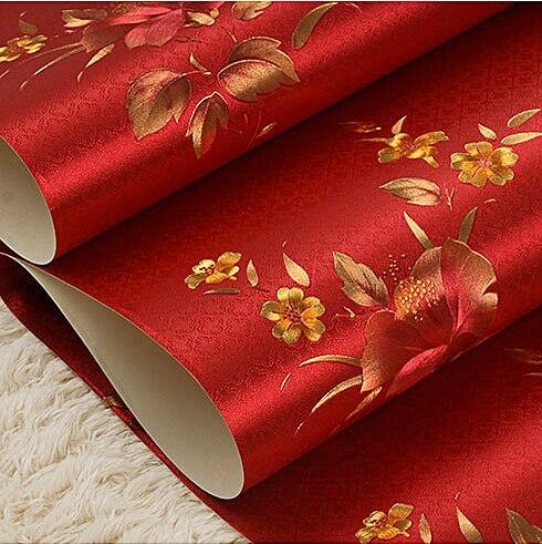 vintage chinois rouge floral papier peint de luxe romantique salon chambre papier peint feuille. Black Bedroom Furniture Sets. Home Design Ideas
