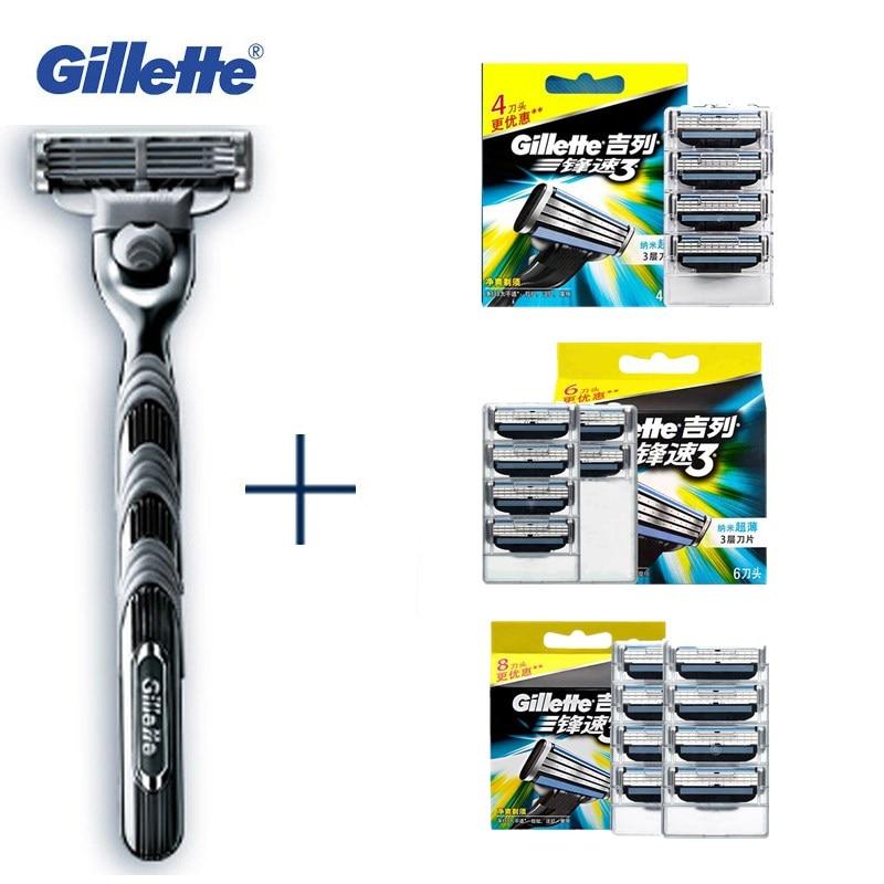 Autêntico autorização Navalhas Mach Gillette Originais 3 Mens Navalha De Barbear Lâminas de Barbear Lâminas de Barbear