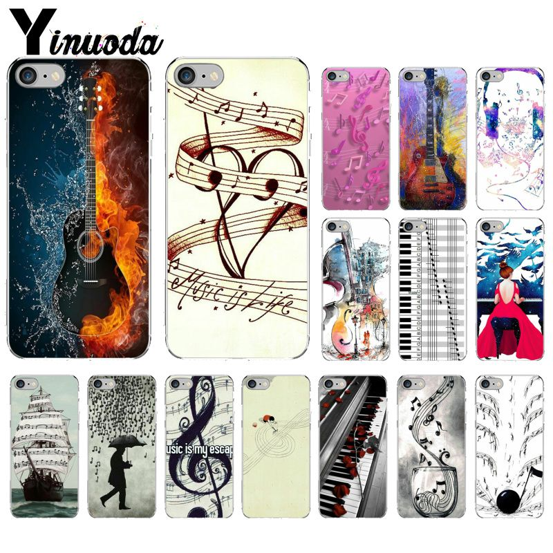 Yinuoda piano guitar music Newest Super Cute  DIY Phone Case cover Shell for Apple iPhone 8 7 6 6S Plus X XS MAX 5 5S SE XR-in Half-wrapped Cases from Cellphones & Telecommunications