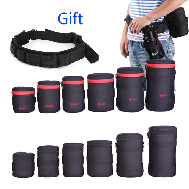 High quality Camera Lens Pouch Waterproof Case Polyester Soft Bag SLR DSLR Xtreme Box Photography Belt for Canon Sony Nikon