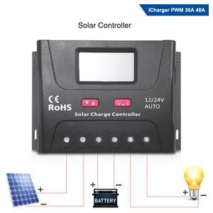Image 2 - EASUN الطاقة الشمسية جهاز التحكم في الشحن 30A 40A PWM جهاز تحكم يعمل بالطاقة الشمسية USB 5 فولت الجهد المنظم شاشة الكريستال السائل 12 فولت 24 فولت منظم الطاقة الشمسية