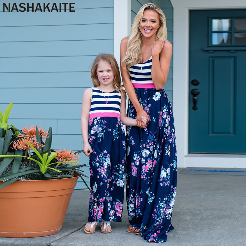 HTB131pVaffsK1RjSszgq6yXzpXav - NASHAKAITE Mother daughter dresses Floral Printed Long Dress Mommy and me clothes Family matching clothes Mom and daughter dress