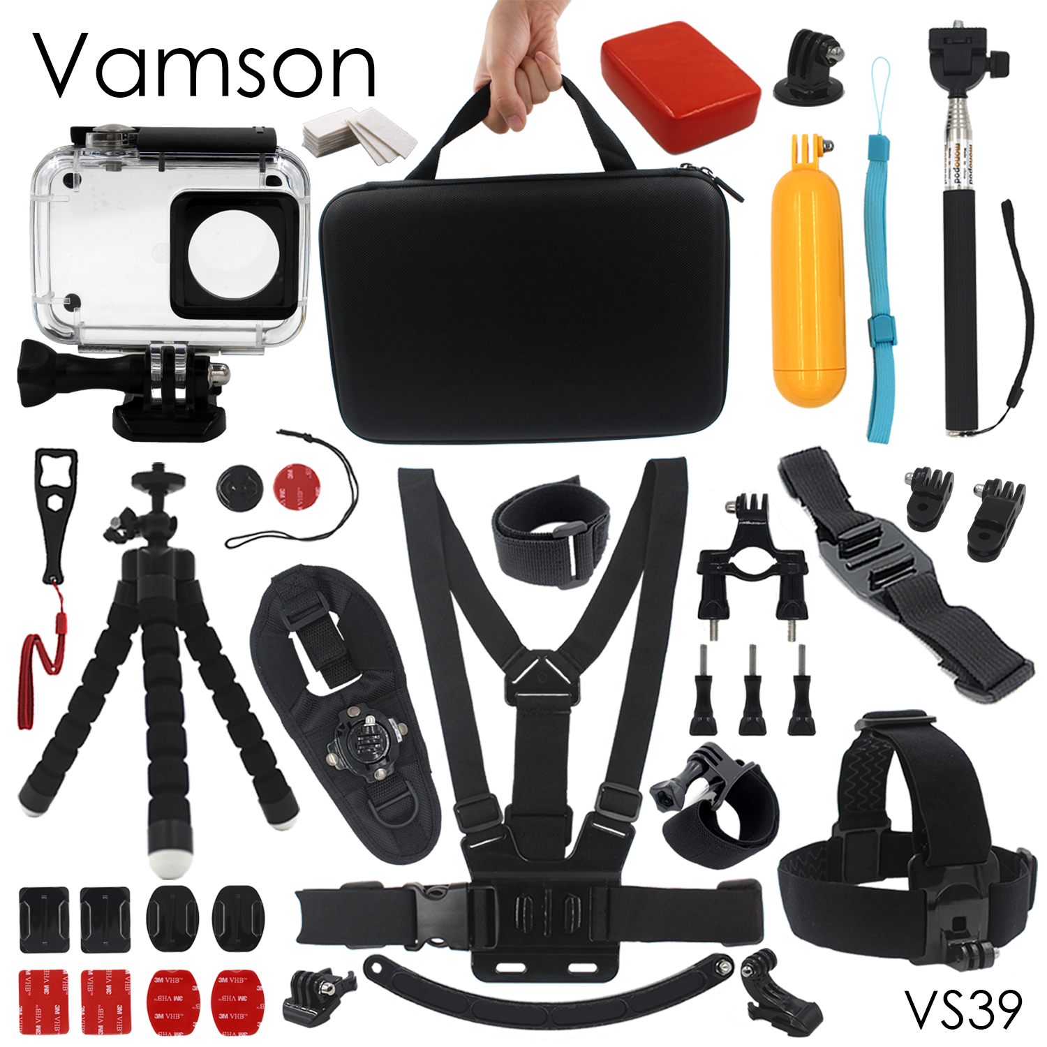 Galleria fotografica Vamson for Xiaomi for Yi Accessories Waterproof housing Case Sponge Octopus Tripod Big Box For yi 2 4K Action Camera VS39