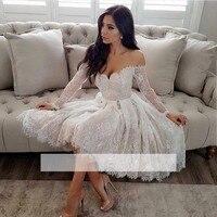 White Long Sleeves 2018 Elegant Cocktail Dresses A line V neck Short Mini Lace Party Plus Size Graduation Homecoming Dresses