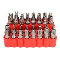 33 個スター六角キートルクスミニ電動ドライバービットホルダーキットクローム Vandium セキュリティビットセット不正防止ドライバーセット -