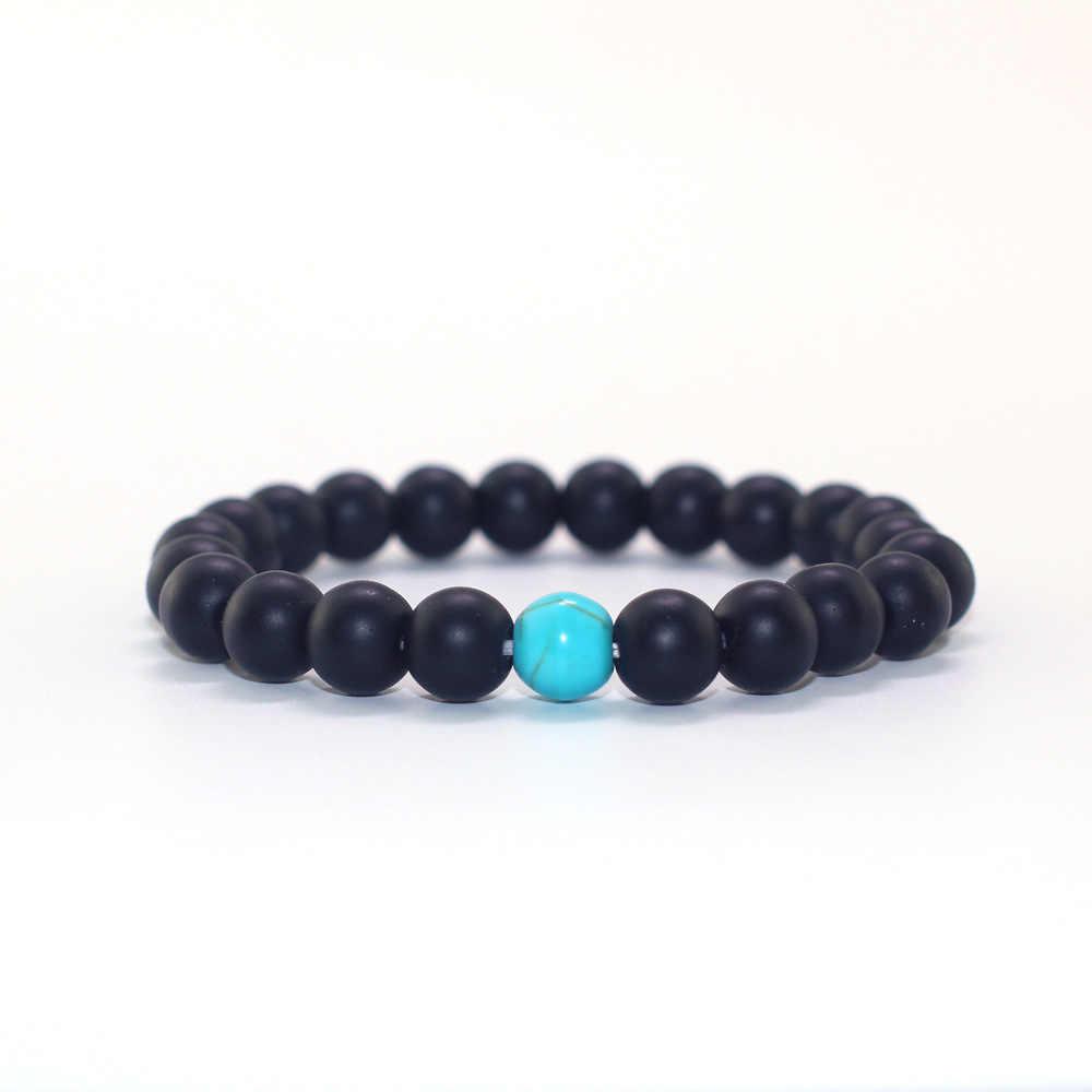 2019 Simple azul turquesa piedra combinación De cuentas pareja Pulsera elástica Strech negro Pulsera De Mujer Yoga Pulsera
