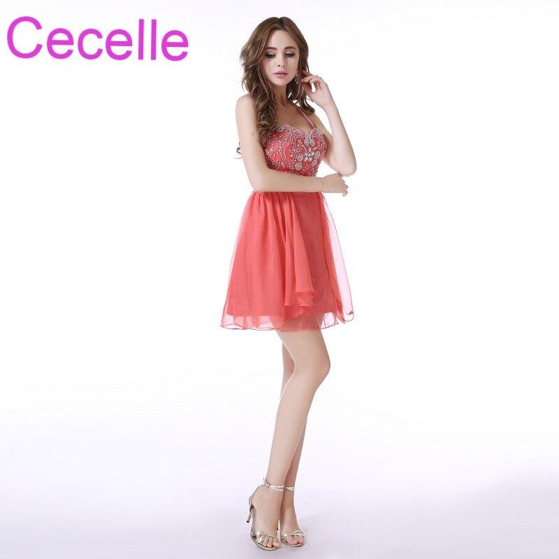 Coral Short Cocktail Formal Dresses