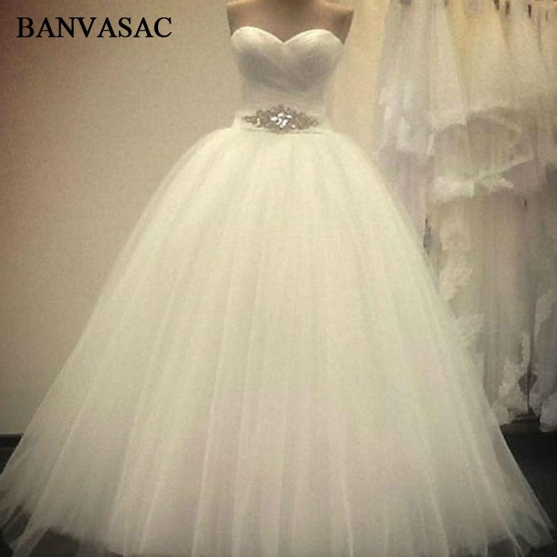 BANVASAC 2017 nuevos cristales de lujo Sash Strapless vestidos de novia sin mangas plisado satinado encaje vestidos de novia de bola