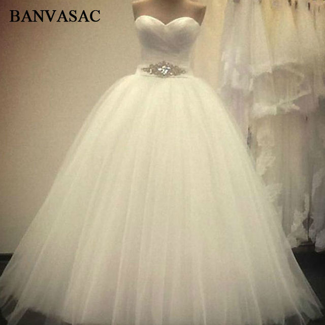 29d36597707 BANVASAC 2017 New Luxury Crystals Sash Strapless Wedding Dresses Sleeveless  Pleat Satin Lace Bridal Ball Gowns