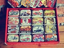 32pcs/box Vintage Motorbike design Tin Box Metal Coin Saver Small Jewerly Case Pill case 16 designs Chocolate Gift Box 32pc box military design tin box mini metal coin saver box small jewerly collect case pill case 16 designs chocolate box gd20