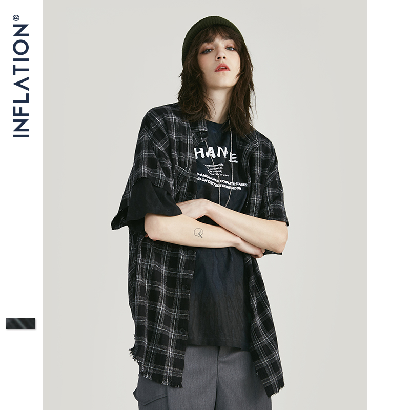 INFLATION Men Plaid Shirt Men Shirts 2019 New Summer Fashion 