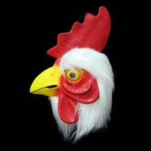 Halloween Cosplay white Latex rooster Adults Mad Chicken Animal  cockerel Mask