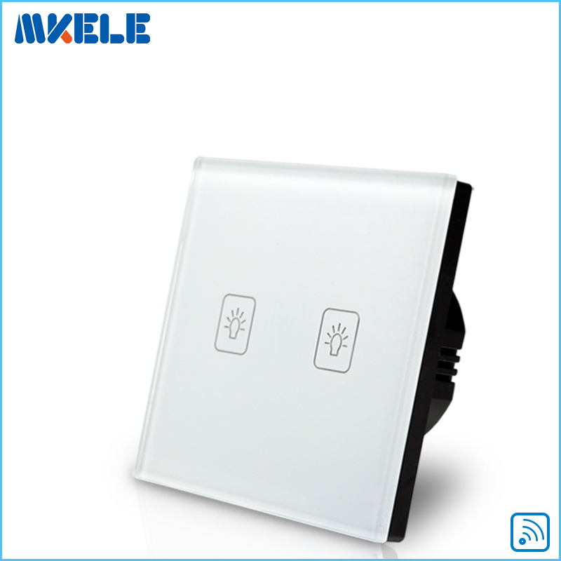 Remote Touch Switch EU Standard 2 Gang 1 Way RF Control Light White Crystal Glass Panel Domotica Code Grabber wall light touch switch 2 gang 2 way wireless remote control power light touch switch white and black crystal glass panel switch
