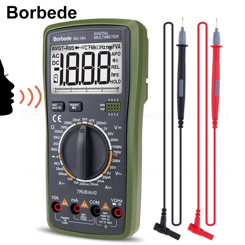 Borbede BD-19A Numérique Multimètre avec Voix Valeur DC/AC Tension Courant Résistance Capacité PCI EFFICACE Vraie Diode Testeur