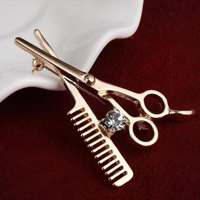 Fashion Gold Silver Comb Scissors Corsage Brooch Pins Personalized Party Charms Brooches Suits Assembly For Women Fine Jewelry