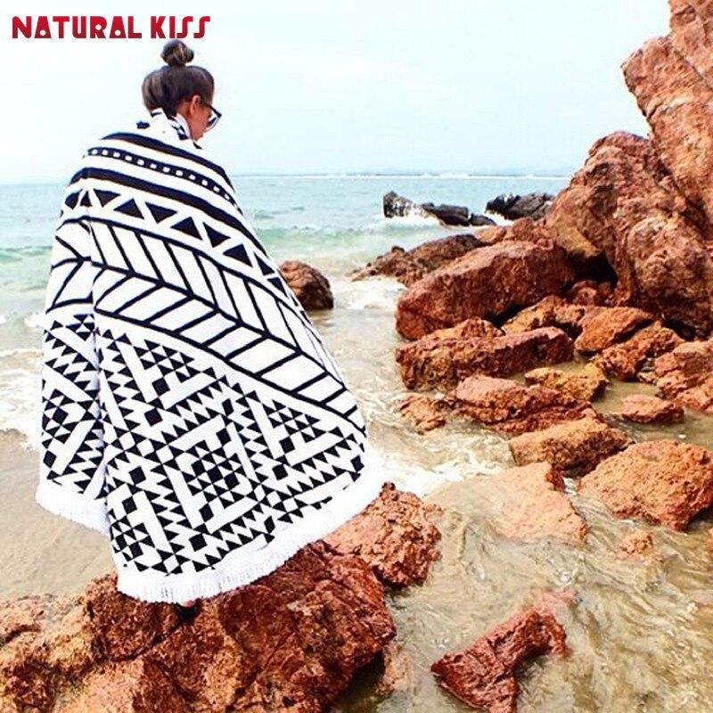 hot cm verano grande bao towel microfibra impresa toallas de playa con borla crculo redondo