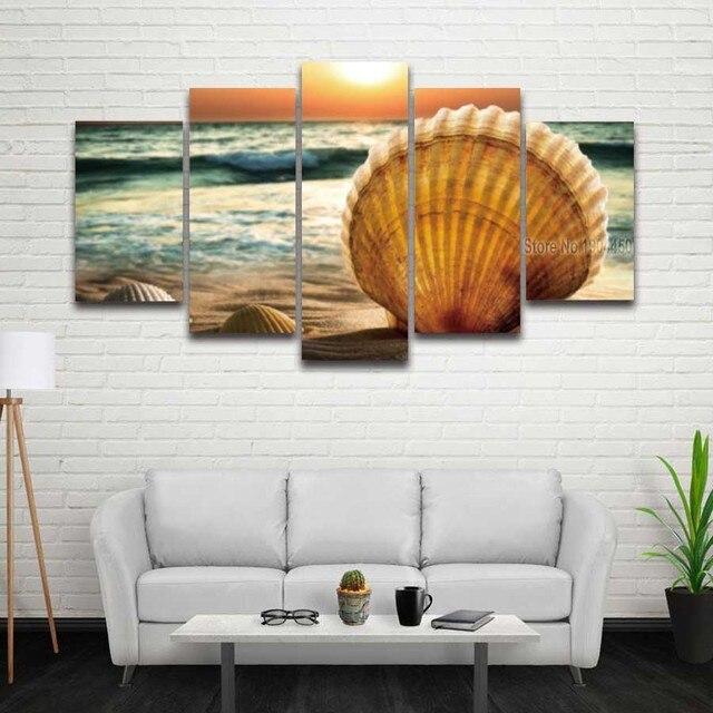 5 Panel Gedruckten Muscheln Strand Seascape Bild Modulare Leinwand ...