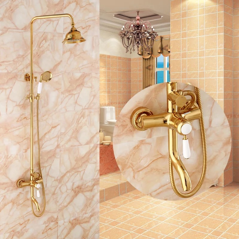 Gold Rain Shower Head. BECOLA free shipping luxurious shower set gold color faucet two heads  round rain HY 853 in Shower Heads from Home Improvement on
