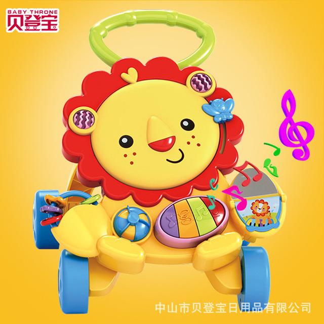 Trono bebé 6-36 Meses Más Funciones Andador león de Dibujos Animados de Música Juguetes Ayuda Paso Vehículo Niños Trolley plegable aprender andador