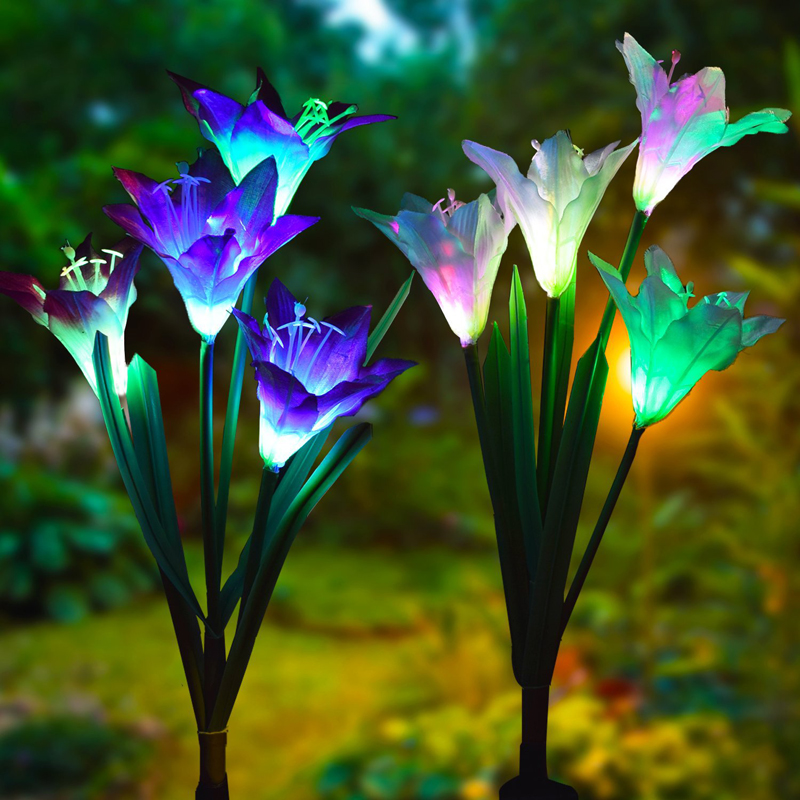 4 Head Lily Flower Solar Light LED Decorative Outdoor Lawn Lamp Home Garden Fake Flower Night Lights IP55 Waterproof Lamps