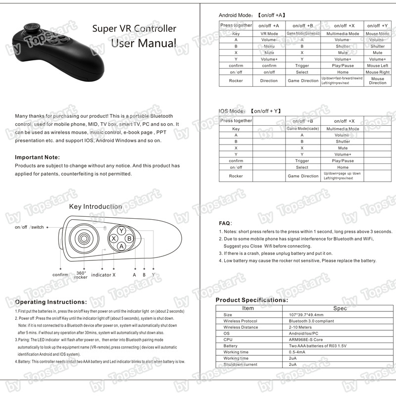 Wireless Bluetooth Gamepad TV PC VR Remote Controller For Android Joystick Game ios gamepa Control For 3D Glasses VR BOX 1