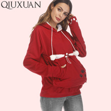 QIUXUAN Plus Size Long Sleeve Embroidery Women Big Pocket Sweatshirts With Cuddle Pouch Dog Cat Pet