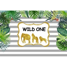 Laeacco Tropical Baby 1st Birthday Party Palm Tree Leaves Wild One Stripes Pattern Photo Backgrond Backdrops Studio