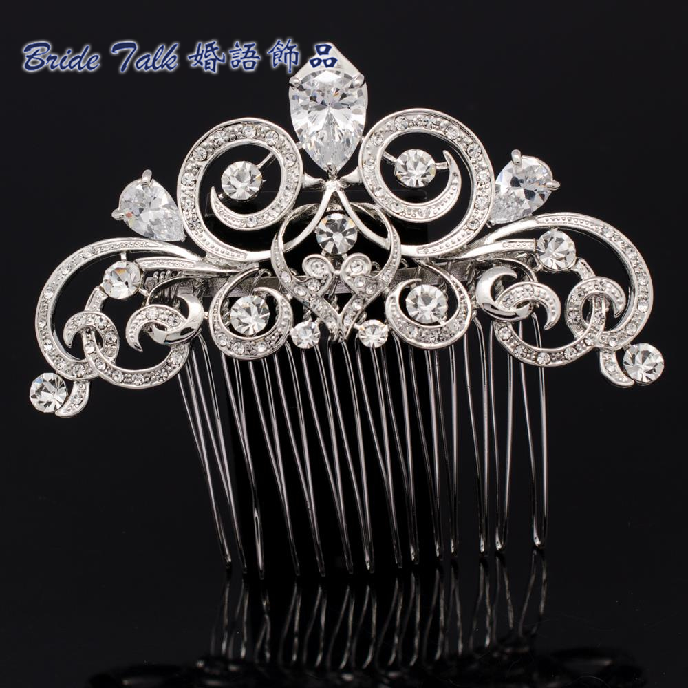 Vintage Style Flower Hairpins Hair Comb Rhinestone Crystal Drop CZ Zircon Wedding Accessories Hair for Women