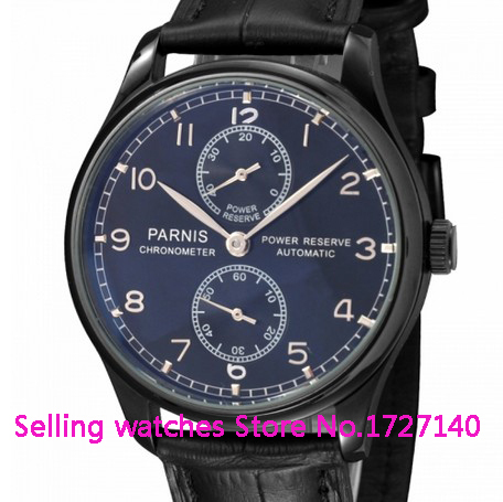 43mm Parnis PVD case  Black Dial Power Reserve Automatic Watch p002 hot sale 46mm parnis black dial power reserve white marks automatic men wrist watch