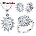 2016 Venda de Cristal Branco Conjuntos de Jóias de Noiva Acessórios Do Casamento Colar Brincos de Prata mulheres Anel de Noivado Jóias T466