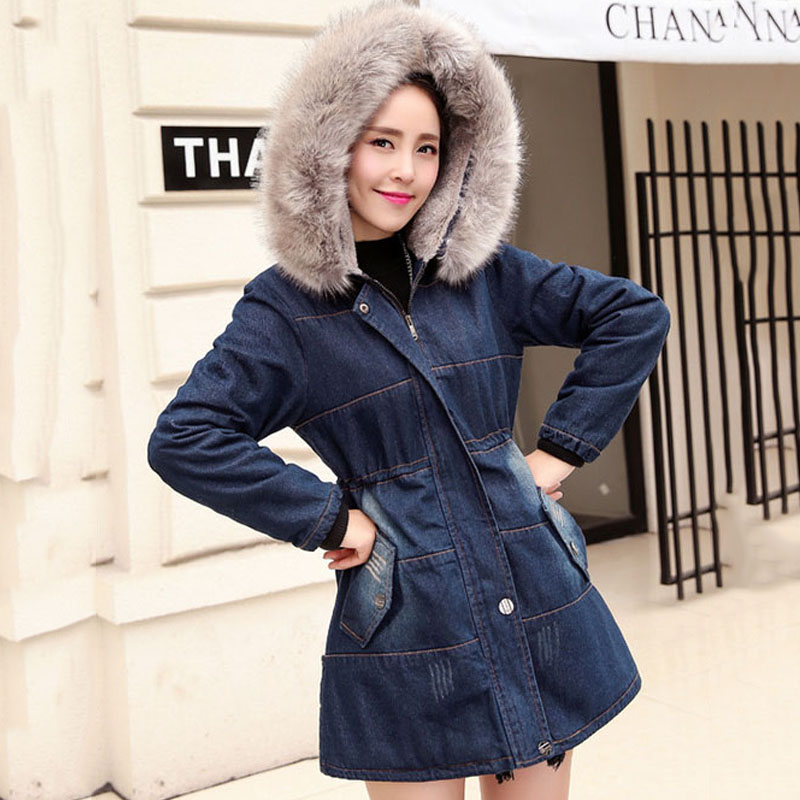 2017 Thick Spring autumn women coats slim lady denim   trench   coat blue single button female overcoat casaco longo feminino