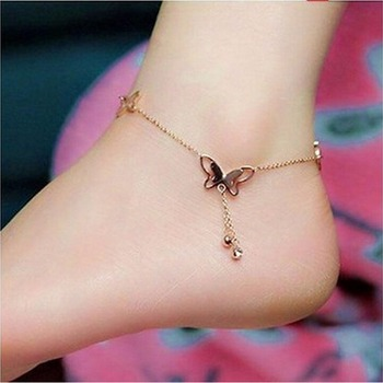 Nowe akcesoria motyl bransoletka na kostkę kobiety moda łańcuszek na kostkę na plażę dziewczyna miłość bransoletka na kostkę na nogę biżuteria tanie i dobre opinie HWetR Other(Other) approx22+5cm 8 66+1 97inch BOHEMIA ROUND